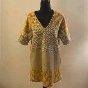 Zara Yellow & Navy Print Mini Dress
